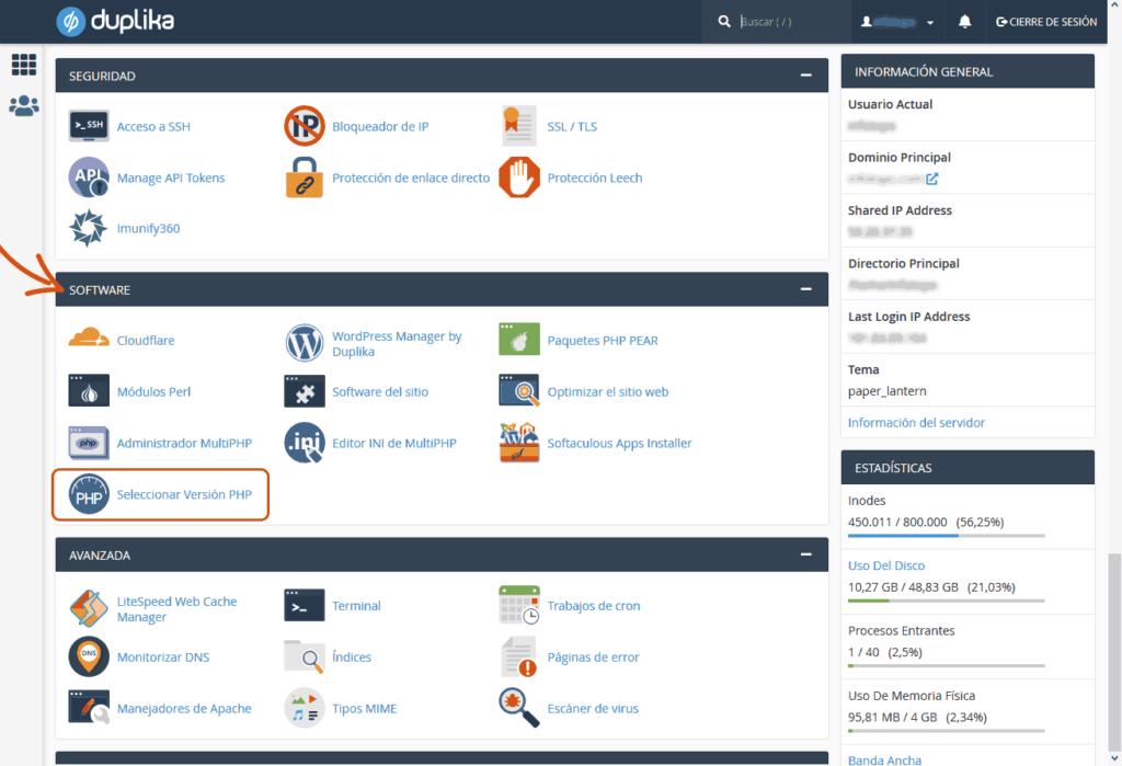 Cambiar versión y configuración de PHP 2